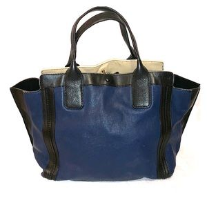 Chloe Allison Blue&Black Color Block Tote Bag
